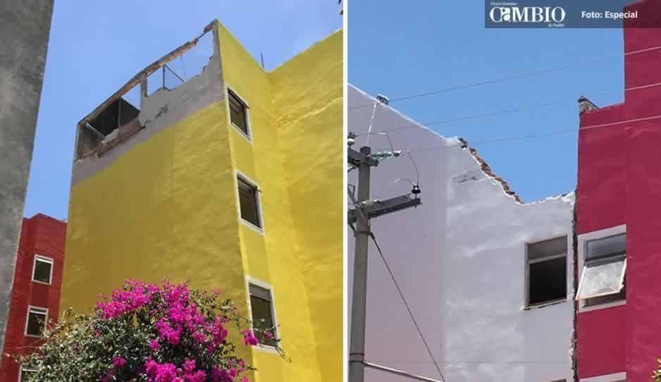 Recién inaugurados, edificios de Infonavit del municipio de Atlixco presentan daños