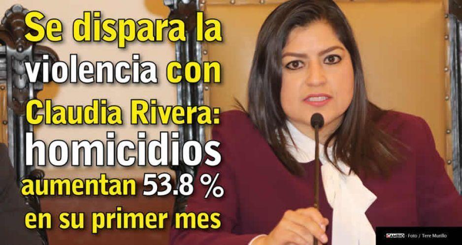 Se dispara la violencia con Claudia Rivera: homicidios aumentan 53.8 % en su primer mes
