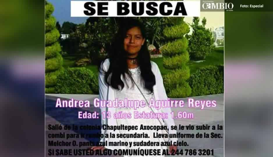 Buscan a Andrea Guadalupe de 13 años; desapareció después de salir de la escuela en Atlixco