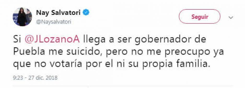 Si Lozano llega a ser gobernador, me suicido: Nay Salvatori