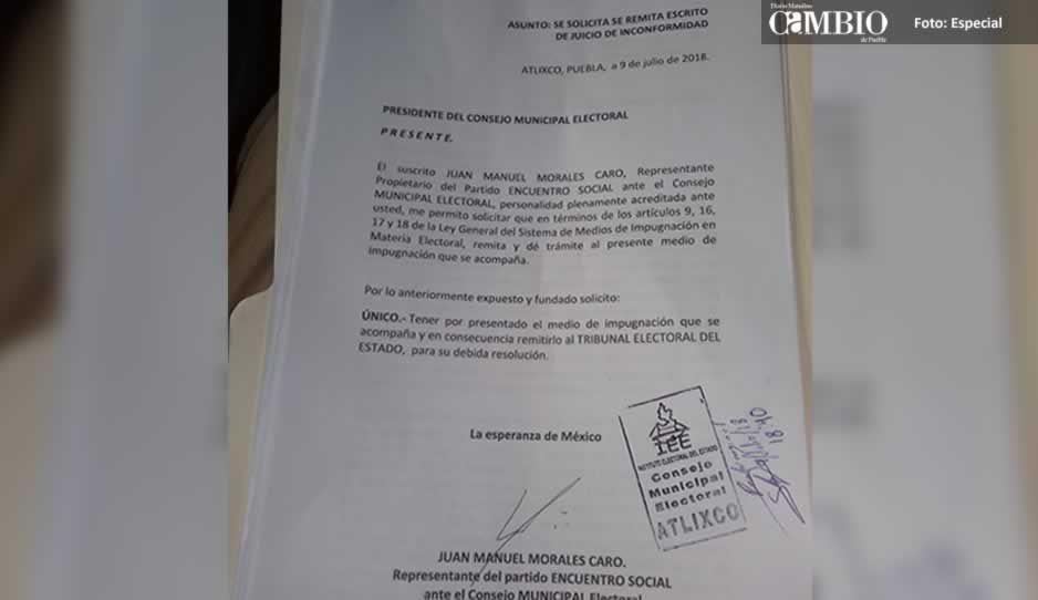 PES presenta recurso de impugnación en Atlixco