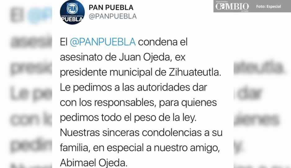 PAN condena asesinato de ex alcalde de Zihuateutla