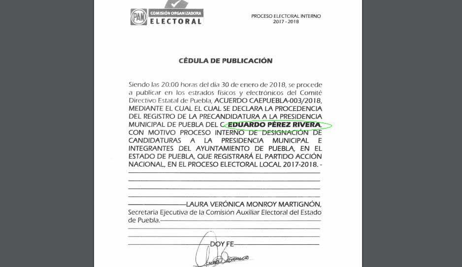 Lamentable lo del PAN: invierten apellidos de Lalo y lo registra como Eduardo Pérez Rivera