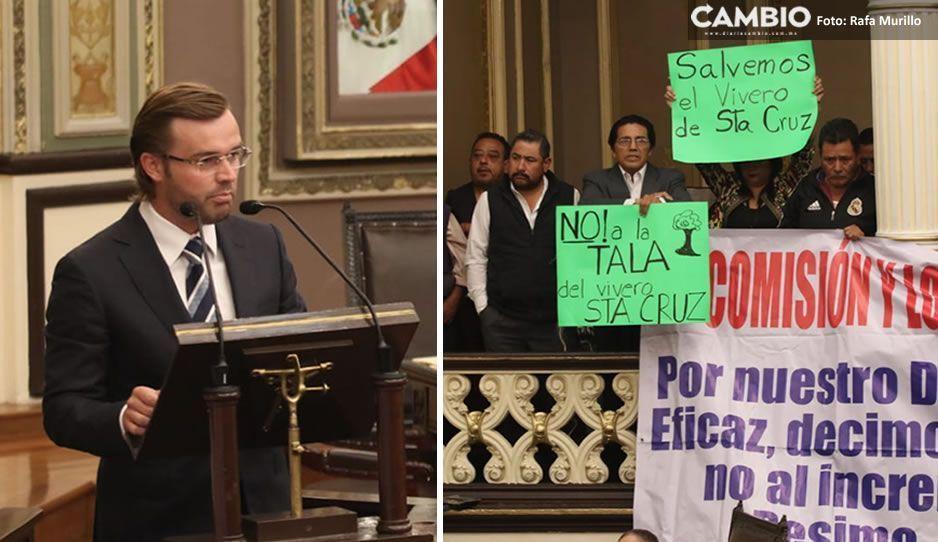 Albizuri inicia comparecencia en el Congreso con protestas vs RUTA 3 y Parque Amalucan