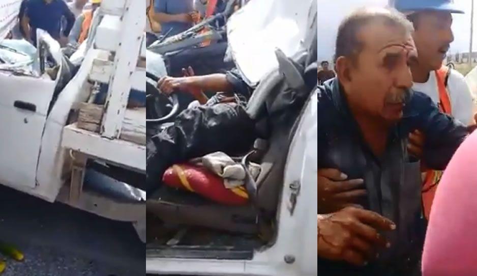 Insólito: Caja de tráiler prensa vehículo tras 19s ¡y el conductor sobrevive! (VIDEO)