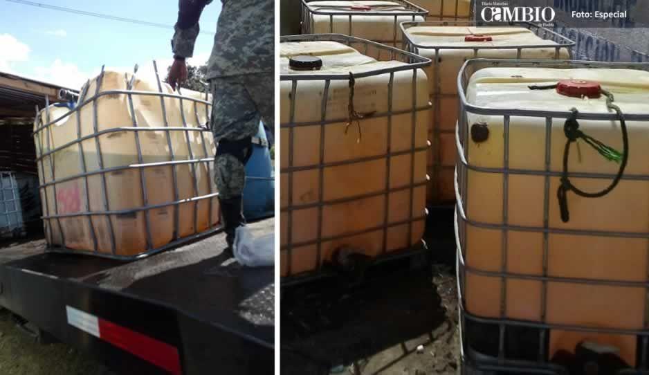 BOM de Texmelucan asegura unidad huachicolera con 56 contenedores