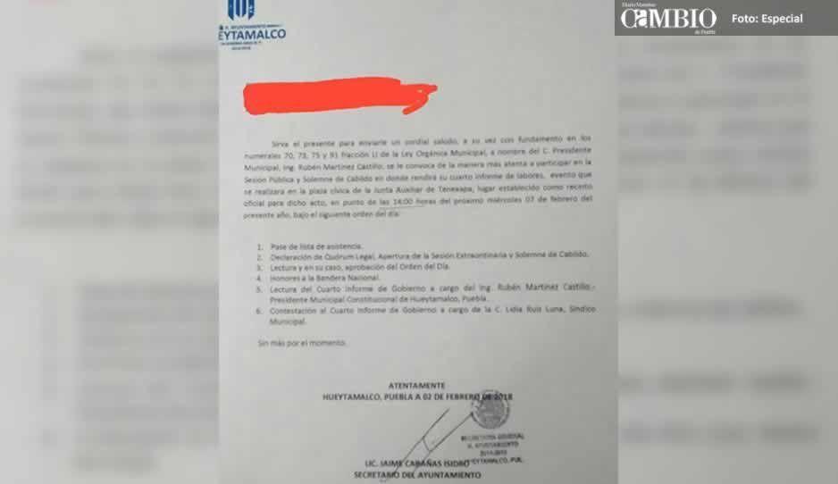 Por miedo a protestas, edil de Hueytamalco rindió su informe en la junta auxiliar más alejada