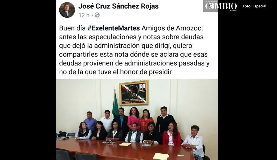 Ex presidente José Cruz Sánchez Rojas  se deslinda de las deudas en Amozoc