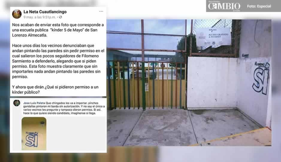 Candidato del PAN en Cuautlancingo pinta bardas sin permiso