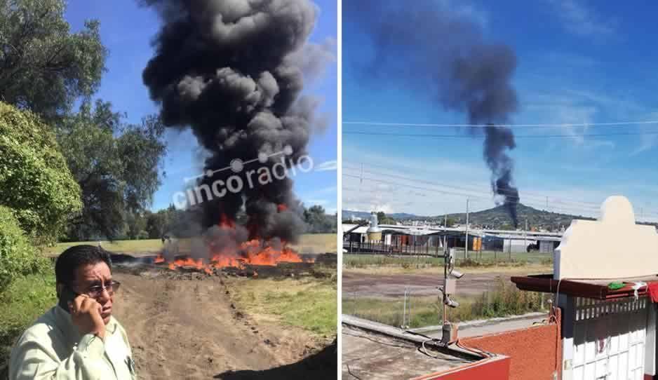 Incendio en terreno baldío de Texmelucan tras derrame de combustible provoca pánico en pobladores (FOTOS)