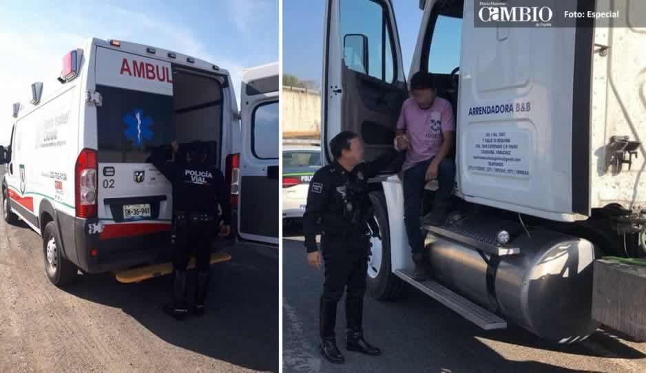 Policías rescatan a conductor de tráiler atado de pies y manos tras intento de asalto
