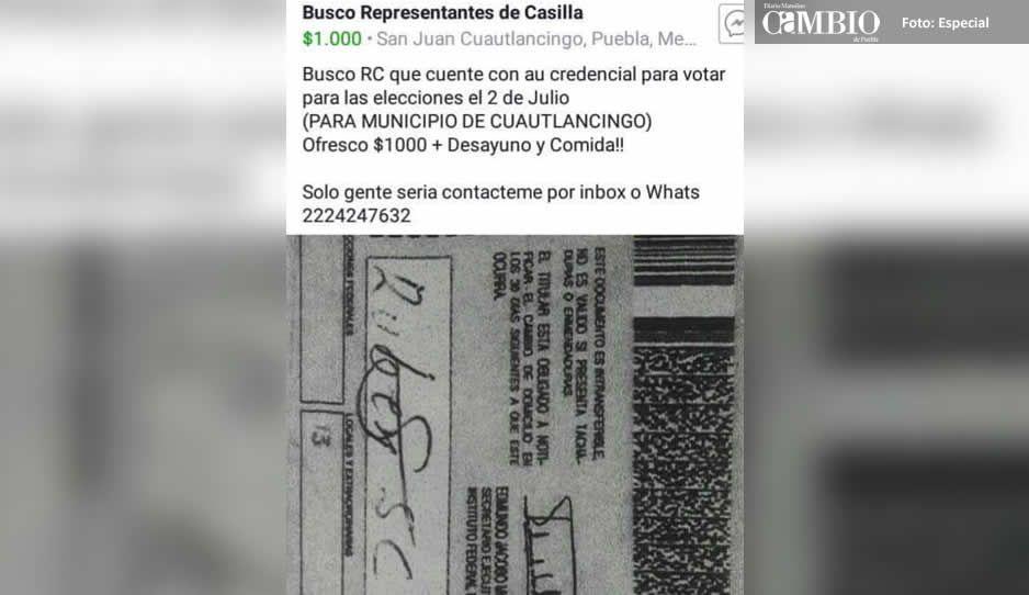 Candidata de Cuautlancingo ofrece mil pesos para ser representante de casilla