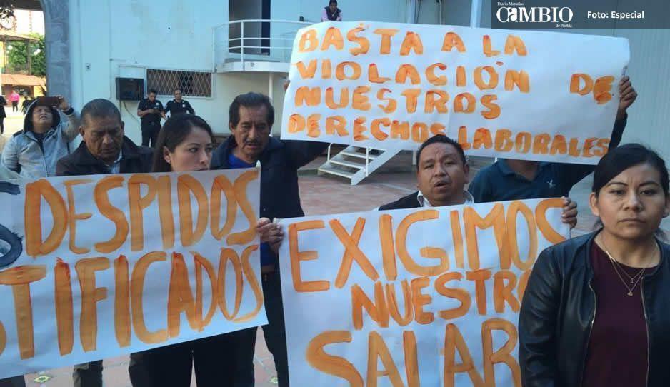 Protesta sindicato charro de San Andrés Cholula por falta de pagos