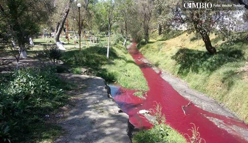 El río Acotzala de Texmelucan se tiñe de diferente color cada día