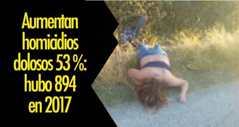 Aumentan homicidios dolosos 53 %: hubo 894 en 2017