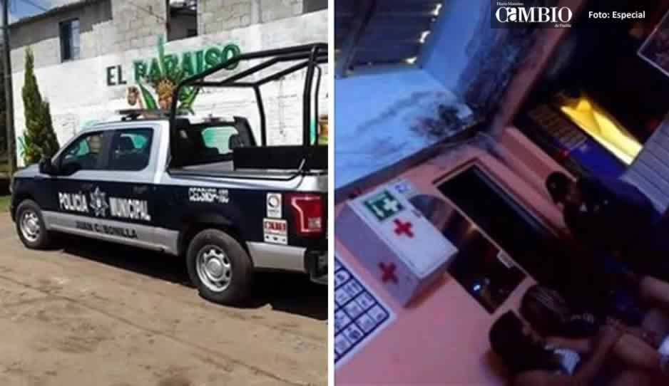 """Captan a policía de Juan C. Bonilla """"distrayéndose"""" con ficheras en horas de trabajo (VIDEO)"""