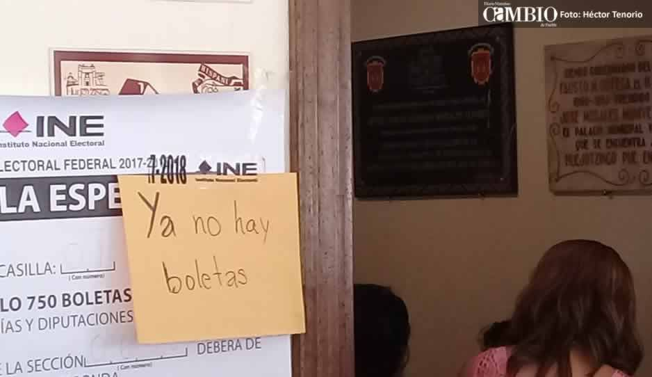A la mitad de la jornada electoral, se terminan las boletas en casilla especial de Huejotzingo