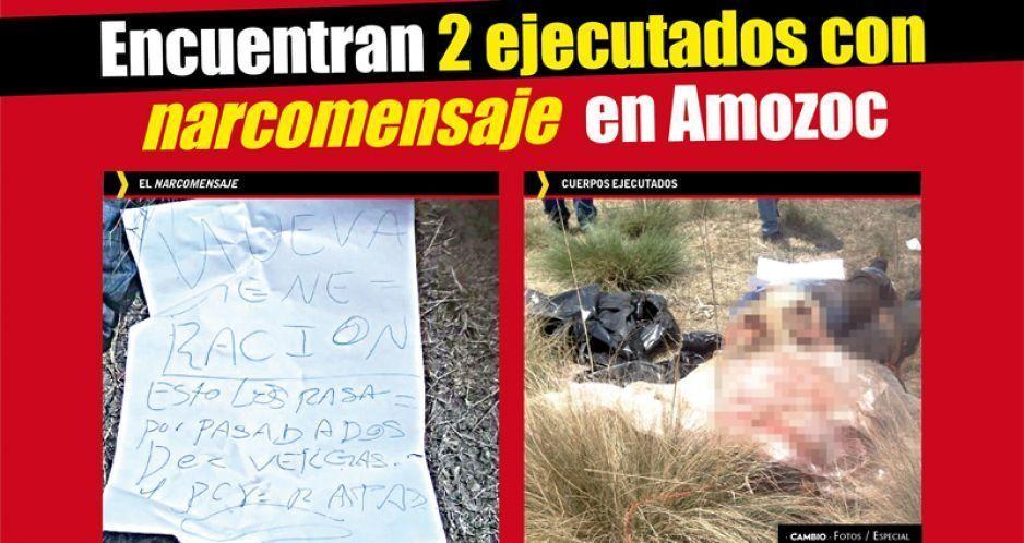 Encuentran 2 ejecutados con narcomensaje en Amozoc