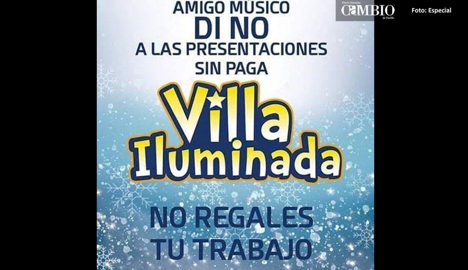 Músicos de Atlixco denuncian mala organización de la Villa Iluminada