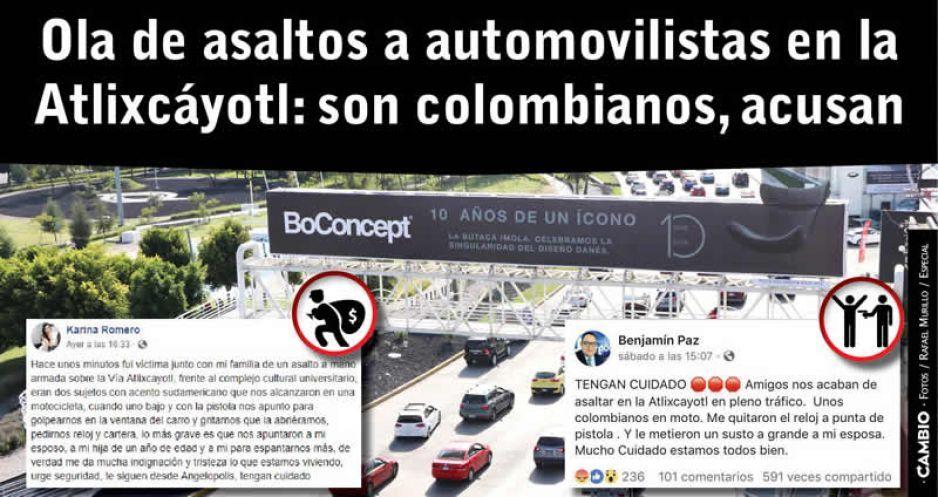 Se desata ola de asaltos en la Atlixcáyotl: colombianos en moto encañonan para robar relojes y carteras