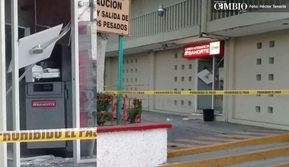 Destrozan cajero automático y se roban un lanón en Texmelucan