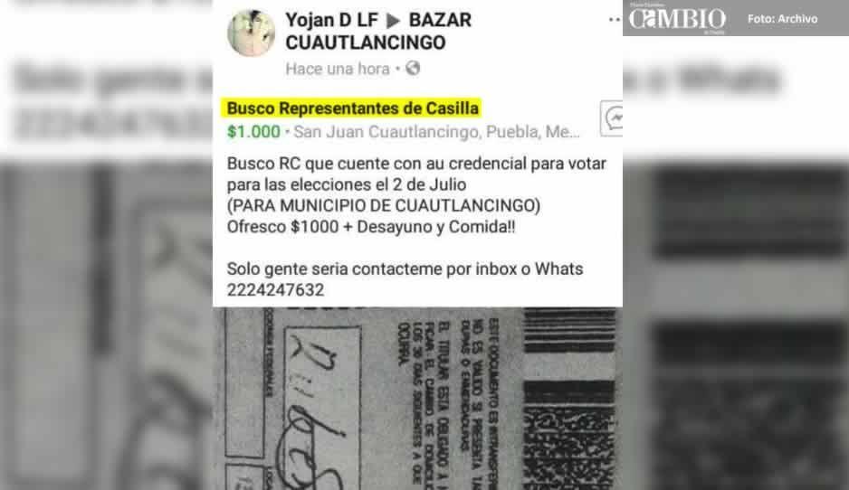 Candidata de Morena en Cuautlancingo ofrece mil pesos y un tinaco a representantes de casilla