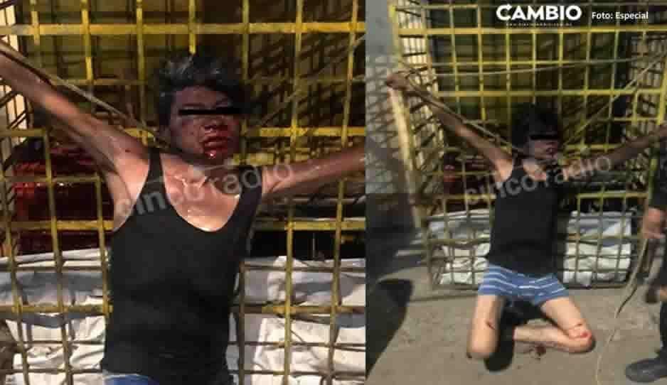Golpean, amarran y exhiben a sujeto que robaba tanques de gas
