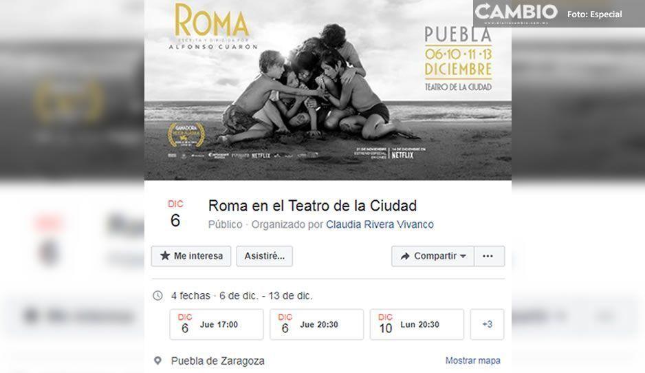 Entre muertos y balaceras Claudia invita a la proyección de Roma por FB