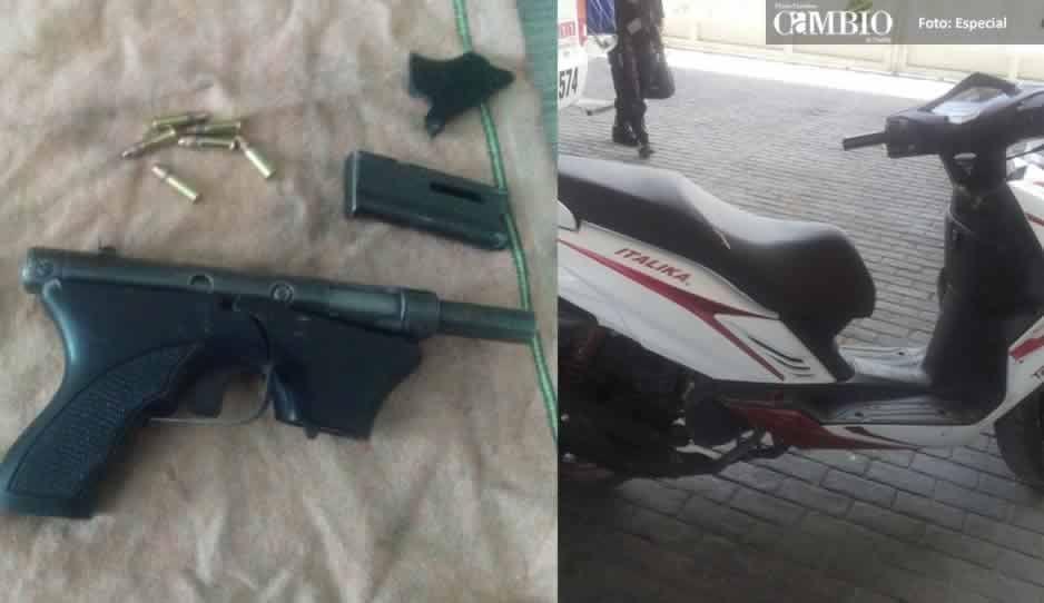 Detienen sujeto con arma de fuego y moto robada en Texmelucan
