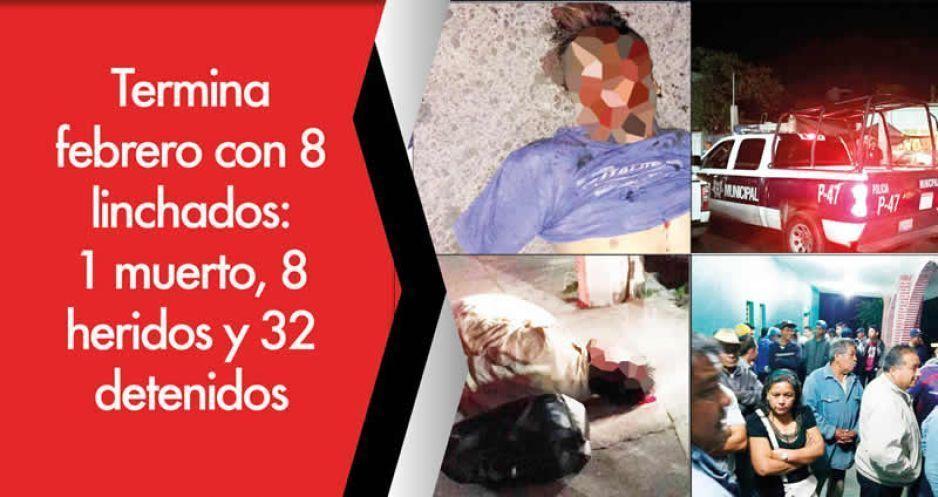 Termina febrero con 8 linchados: 1 muerto, 8 heridos y 32 detenidos