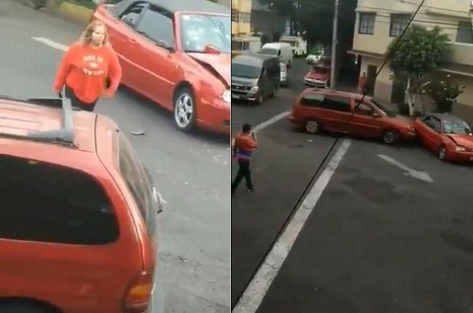 Mujer maniática destroza a golpes el parabrisas y luego regresa para chocarlo con su camioneta