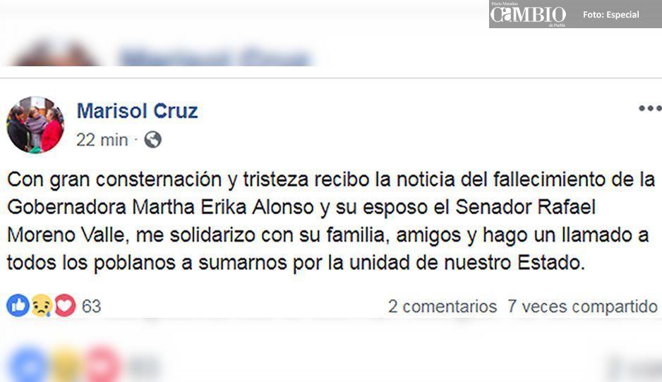 Alcaldesa de Tecamachalco lamenta el fallecimiento de la gobernadora y su esposo