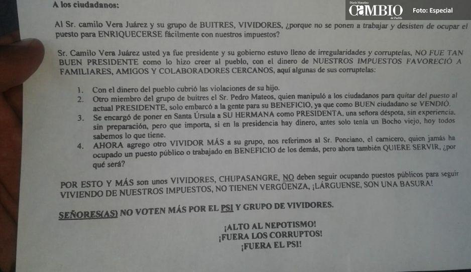 Edil de Felipe Ángeles difunde campaña negra contra el PSI