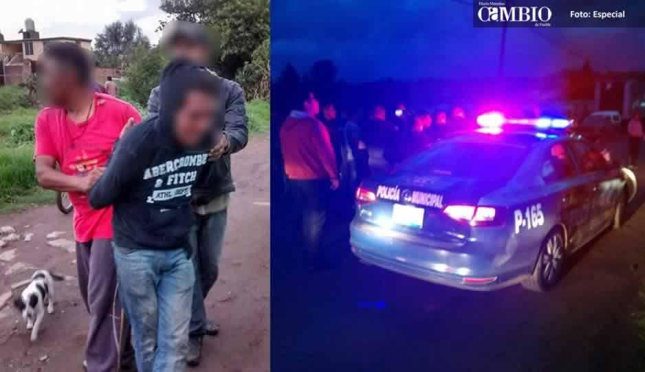 Policías de San Pedro Cholula rescatan a ladrón de ser linchado en Tepontla