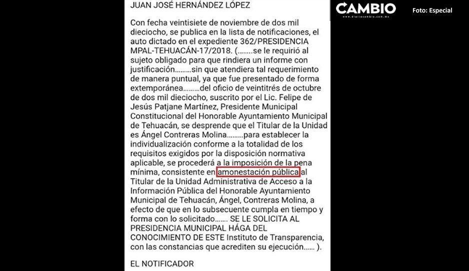 Ayuntamiento De Tehuacán Amonestado Por Hacerse Ojo De Hormiga Y