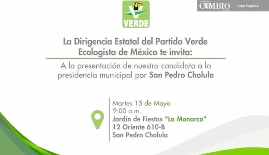 PVEM sí tiene candidata a la presidencia municipal en San Pedro Cholula