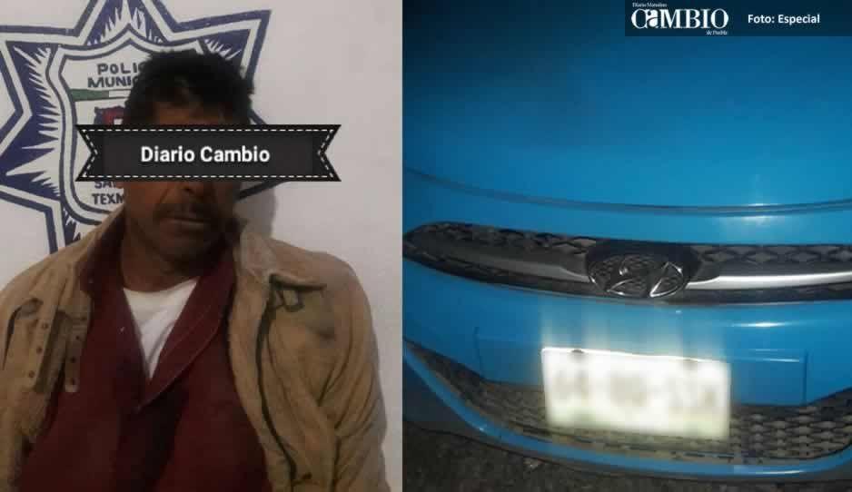 Policías de Texmelucan detienen a sujeto por robo de taxi