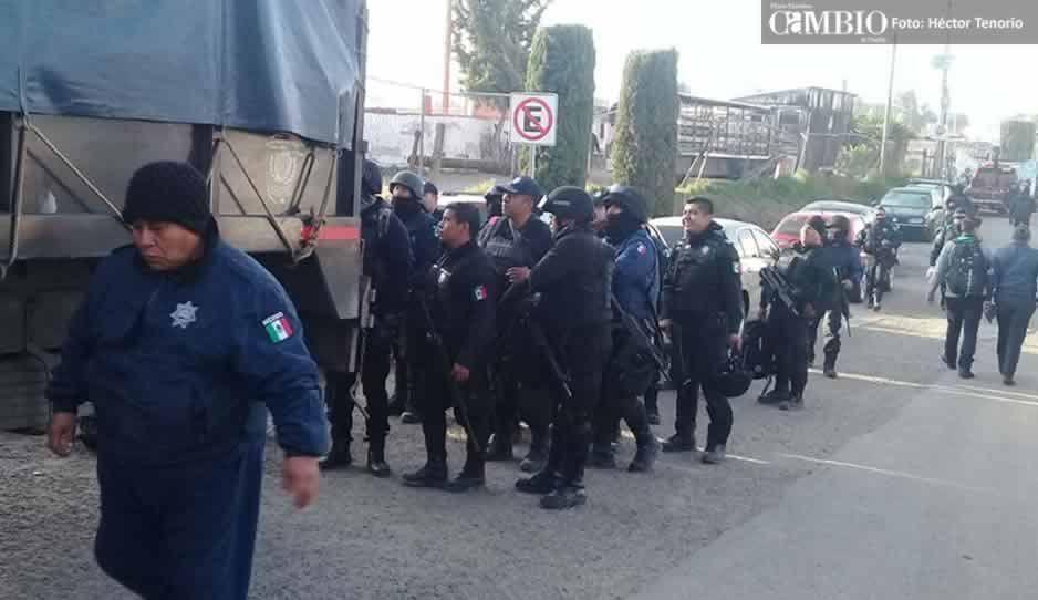 Policía Estatal resguarda San Martín Texmelucan tras despido masivo