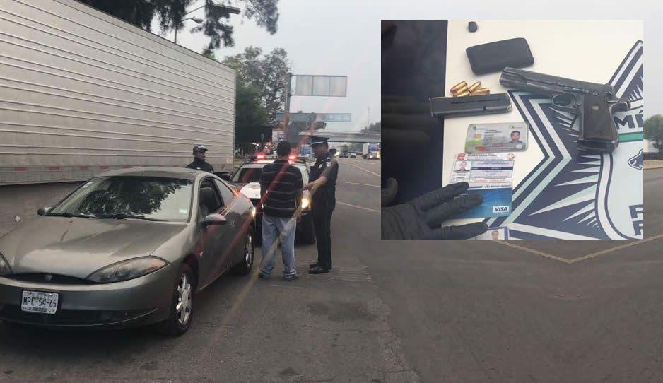 Detienen a sujeto con arma de fuego en la México-Puebla