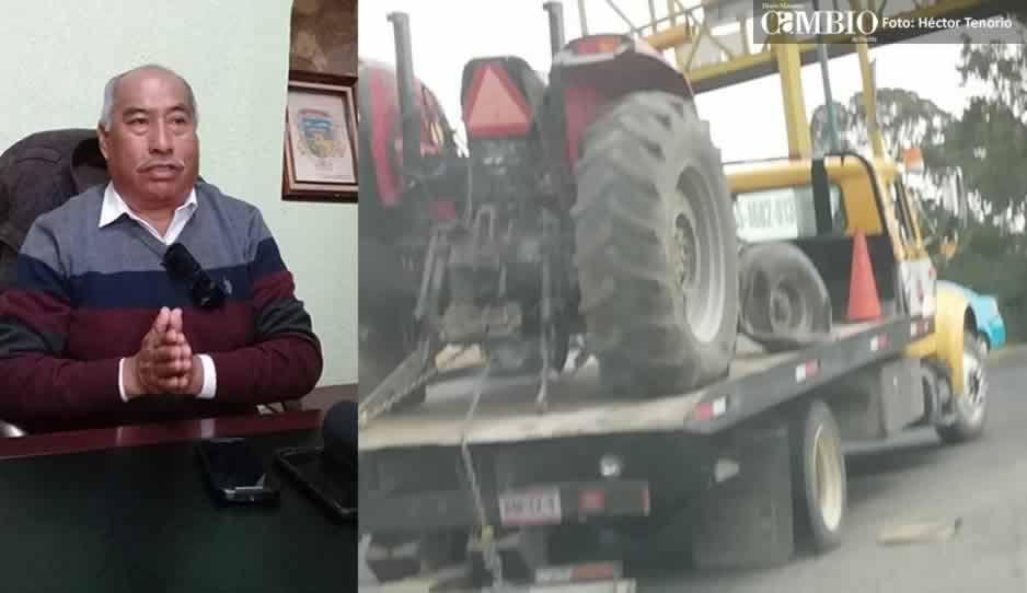 El tractor sólo fue llevado al taller: responde el edil de Chiautzingo ante supuesto robo