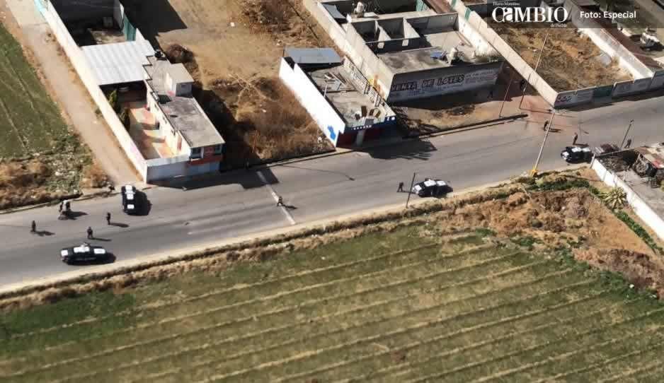 Policías federales realizan operativo contra el robo de combustible en Texmelucan