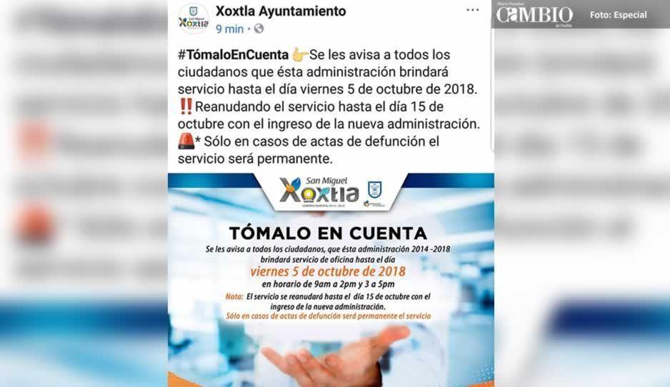 Autoridades de Xoxtla se tomarán vacaciones antes del cambio de alcalde