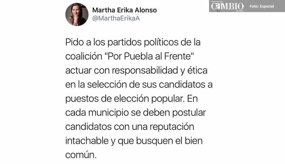 Censura Martha Erika postulación  del hermano de El Toñín por PSI