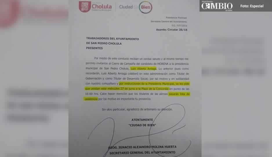 Ayuntamiento de San Pedro obliga a empleados asistir al cierre de campaña de Arriaga Lila