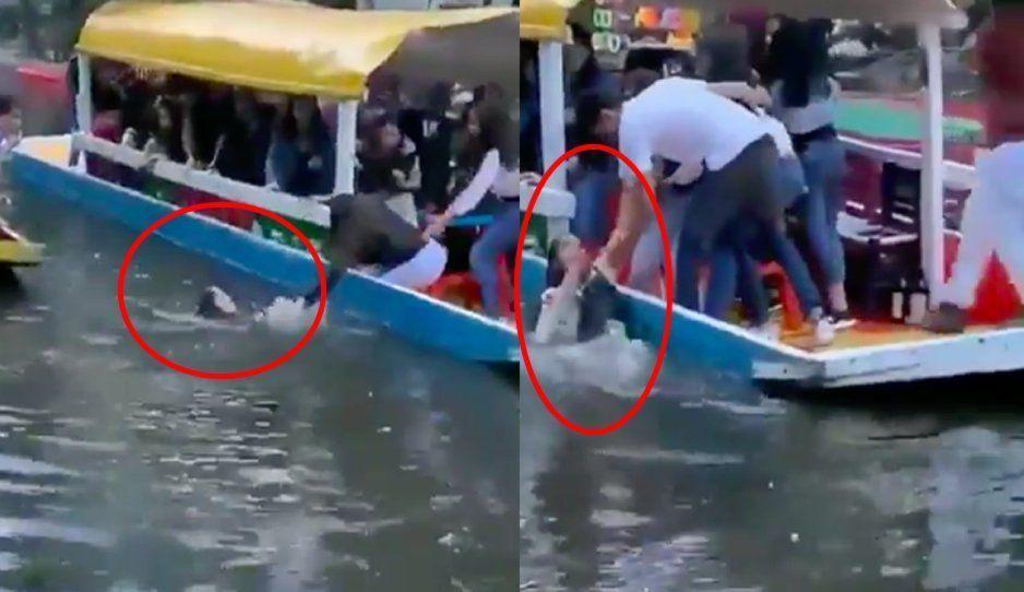 VIDEO: Mujer estuvo cerca de correr la misma suerte que Chema, pero sus amigos sí la ayudaron a salir lago de Xochimilco