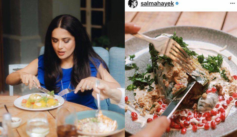 ¡Insulto para los poblanos! Salma Hayek prueba el peor intento de chile en nogada (FOTOS)