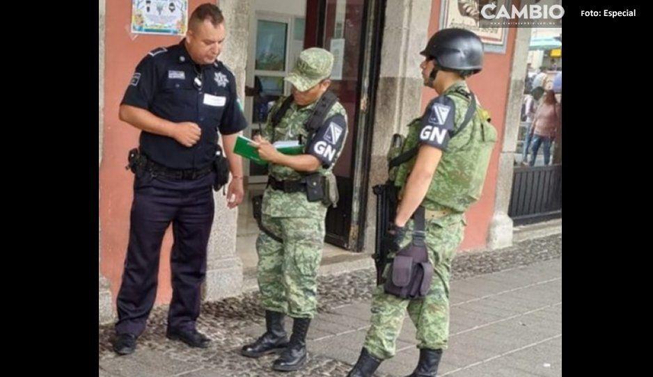 Asaltantes roban caja fuerte de tienda OXXO y burlan a Guardia Nacional en Huauchinango