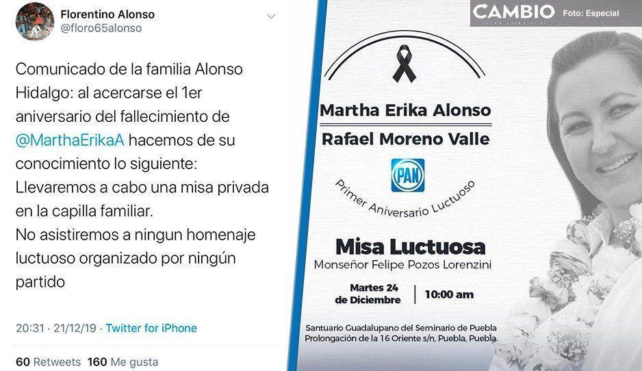 Familia de Martha Erika no irá a la misa del PAN ni participará en ningún homenaje