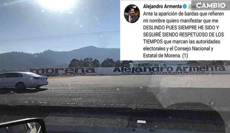 ¿Guerra sucia? Pintan bardas para promocionar a Armenta en Puebla y él se deslinda