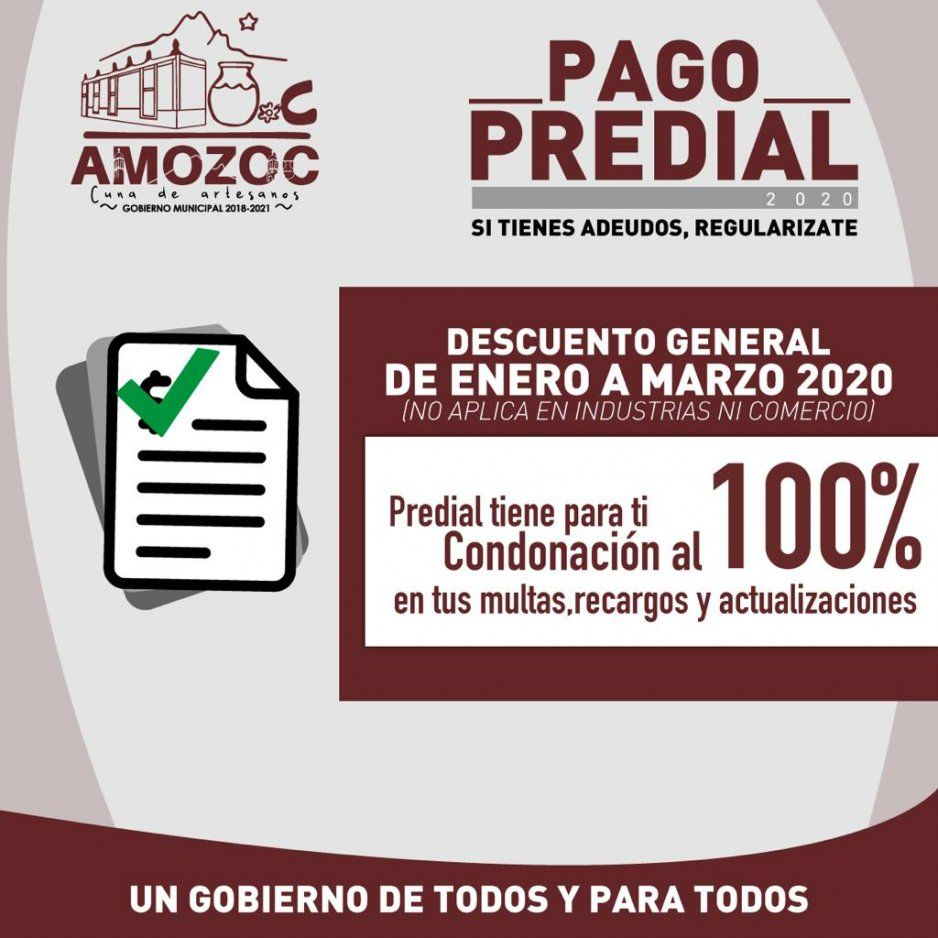 Amozoc lanza campaña para descuentos en predial